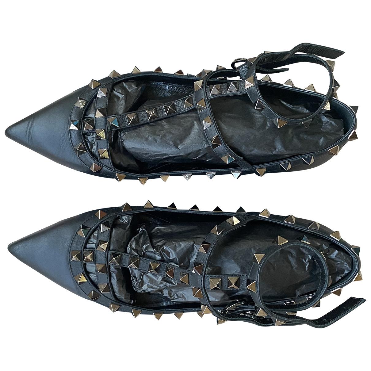 Valentino Garavani Rockstud Black Leather Ballet flats for Women 37 EU
