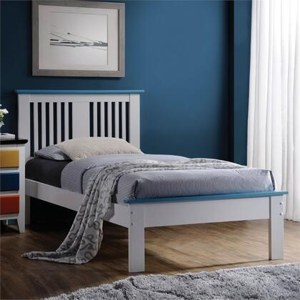 Brooklet Collection 25463F Full Size Bed with Slatted Panel Headboard  Low Profile Footboard  Contrast Top Trim and Poplar Wood Construction in Blue