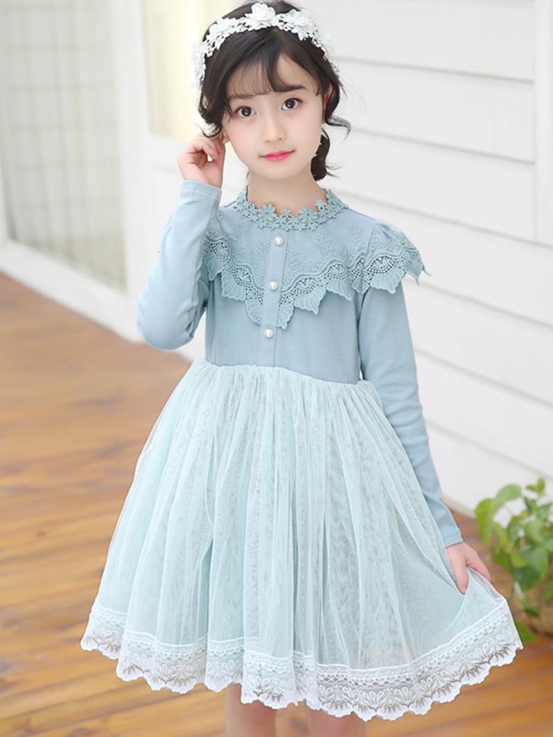 Ericdress Mesh Lace Pleated Girl's Long Sleeve Princess Dress