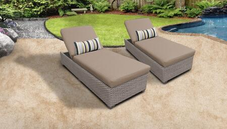 Monterey Collection MONTEREY-2x-WHEAT Set of 2 Chaises - Beige and Wheat
