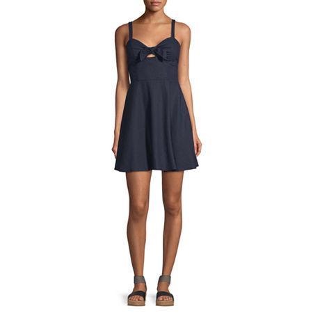 Speechless-Juniors Sleeveless Fit & Flare Dress, Medium , Blue