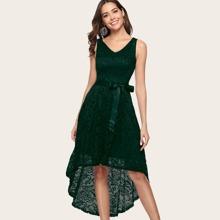 Dressystar High Low Hem Belted Lace Dress