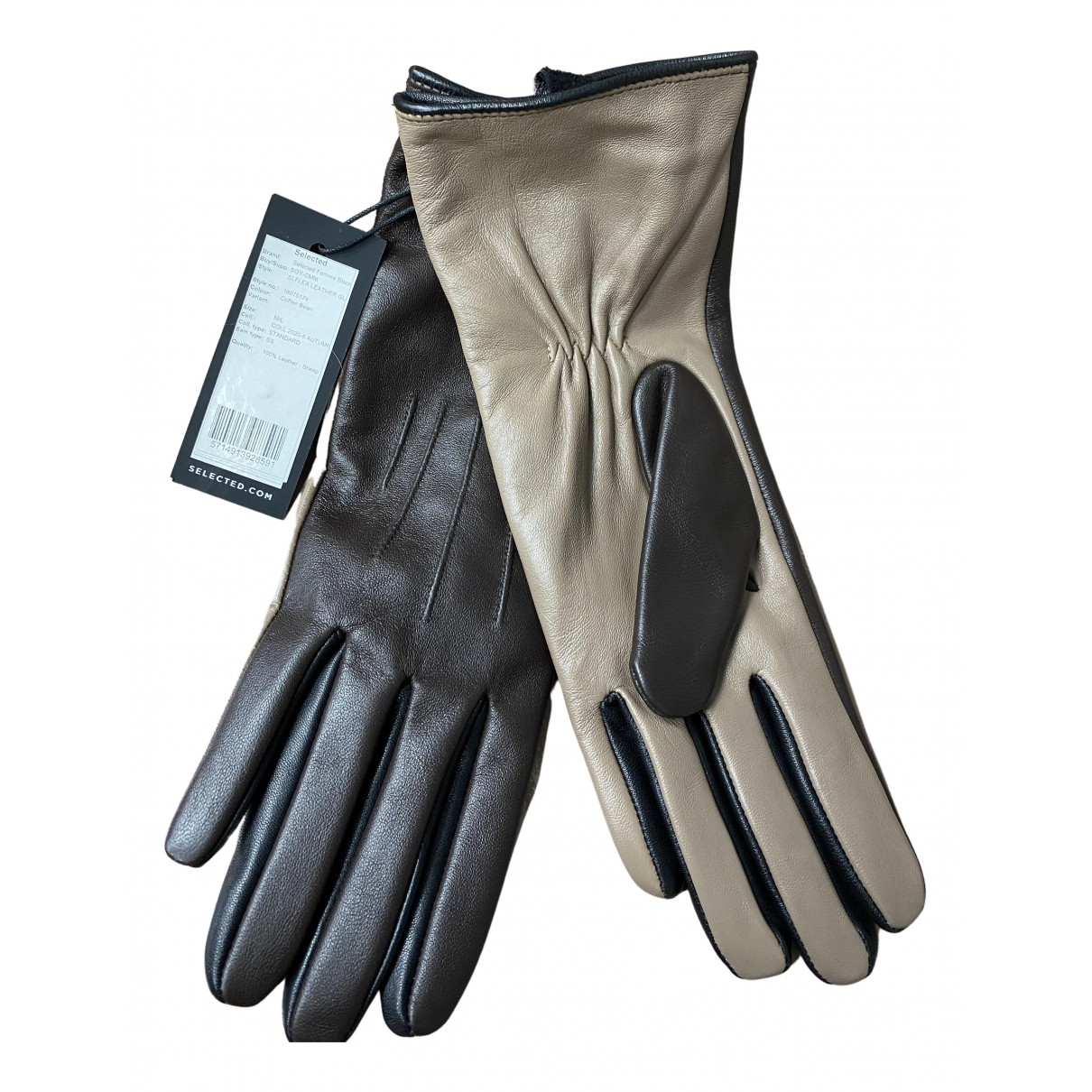 Selected N Brown Leather Gloves for Women M International