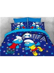 Soccer Smurfs Follow Sports Spirit 4-Piece Bedding Sets/Duvet Covers