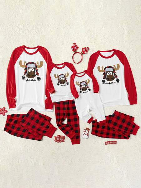 Milanoo Family Christmas Pajamas Cotton Blend Christmas Pattern Color Block Red Plaid Pants Top Set