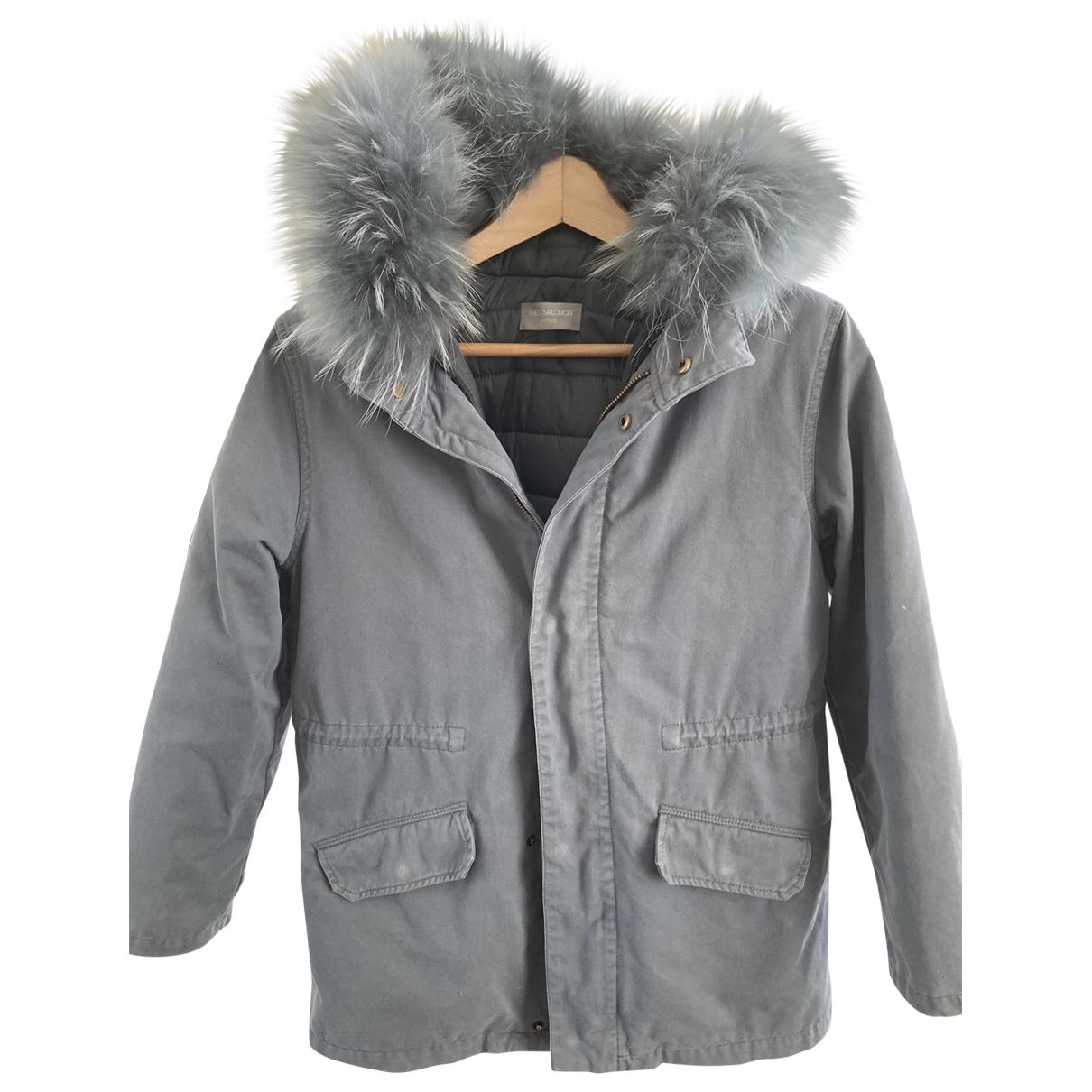 Abrigo, Chaqueta en Algodon Azul Yves Salomon
