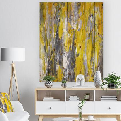 WD6268-30-40 Grey And Yellow Abstract Pattern - Abstract Print On Natural Pine Wood -