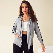 Zip Up Striped Side Hooded Sweatshirt