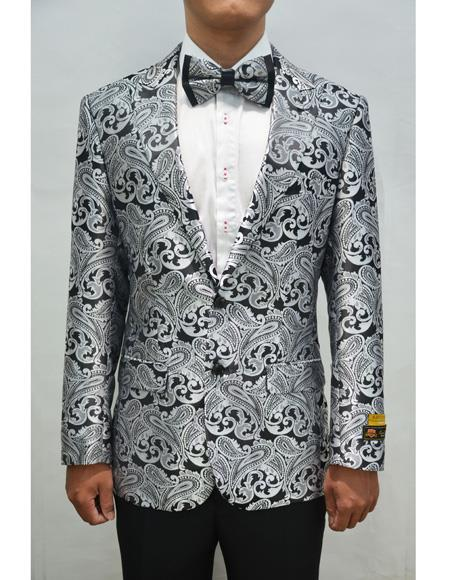 Alberto Nardoni Mens Floral ~ Fancy Sport Coat Matching Bow Tie