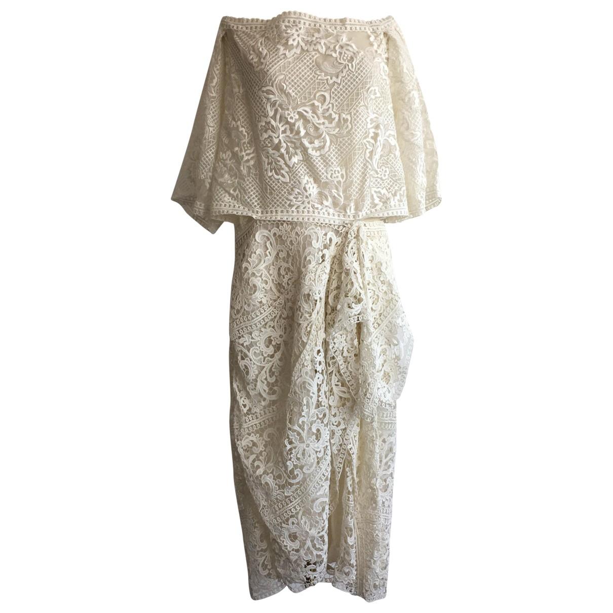 Marchesa \N White Silk dress for Women 16 US