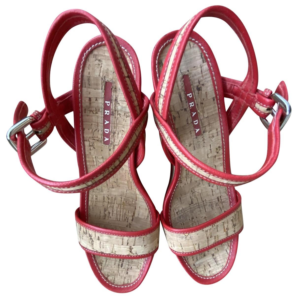 Prada \N Red Leather Sandals for Women 36.5 EU