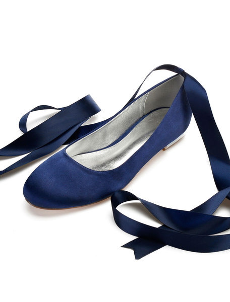 Milanoo Satin Wedding Shoes Women Round Toe Lace Up Bridesmaid Shoes Silver Flat Bridal Shoes