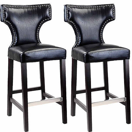 Kings Bar Height Barstool With Metal Studs, Set Of 2, One Size , Black
