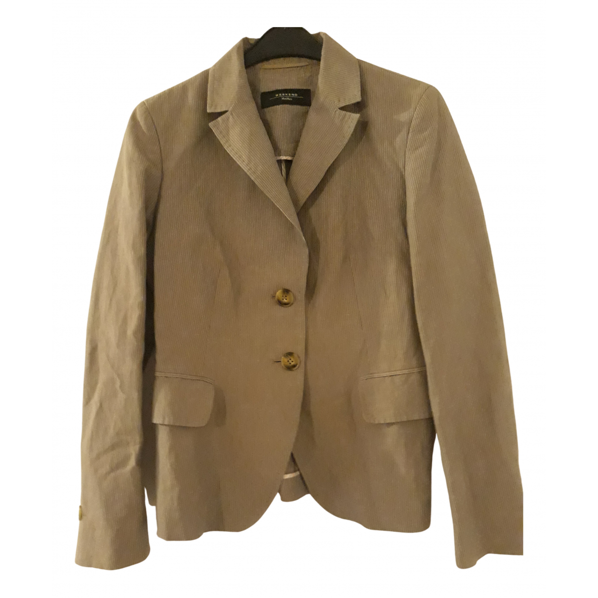 Max Mara Weekend \N Beige Cotton Leather jacket for Women M International