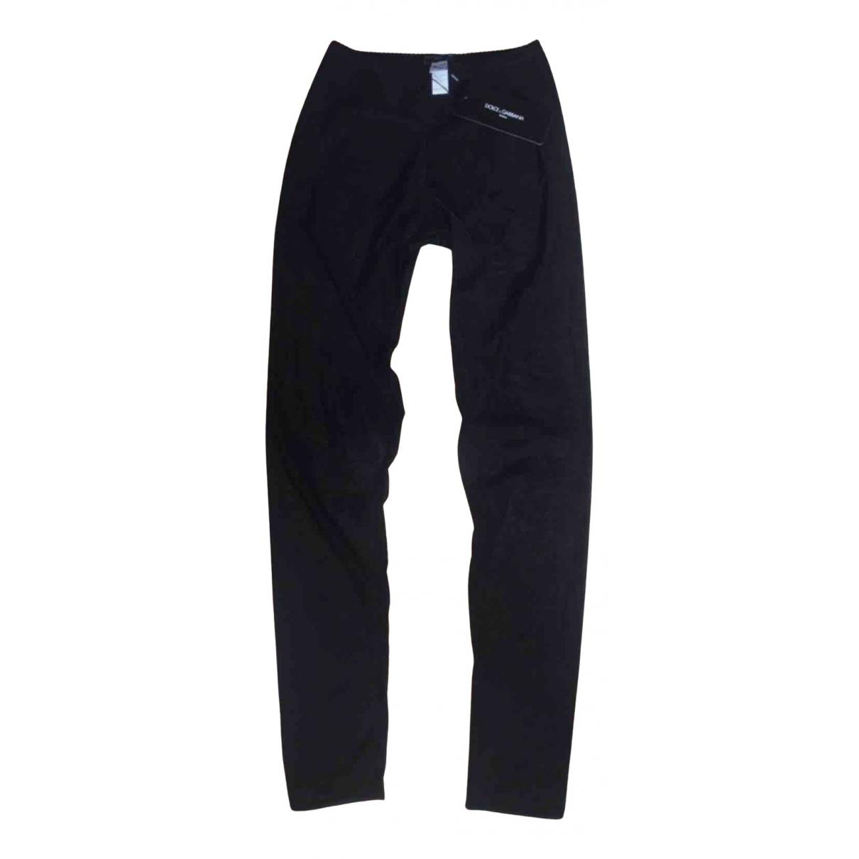 Dolce & Gabbana N Black Spandex Trousers for Women 34 FR