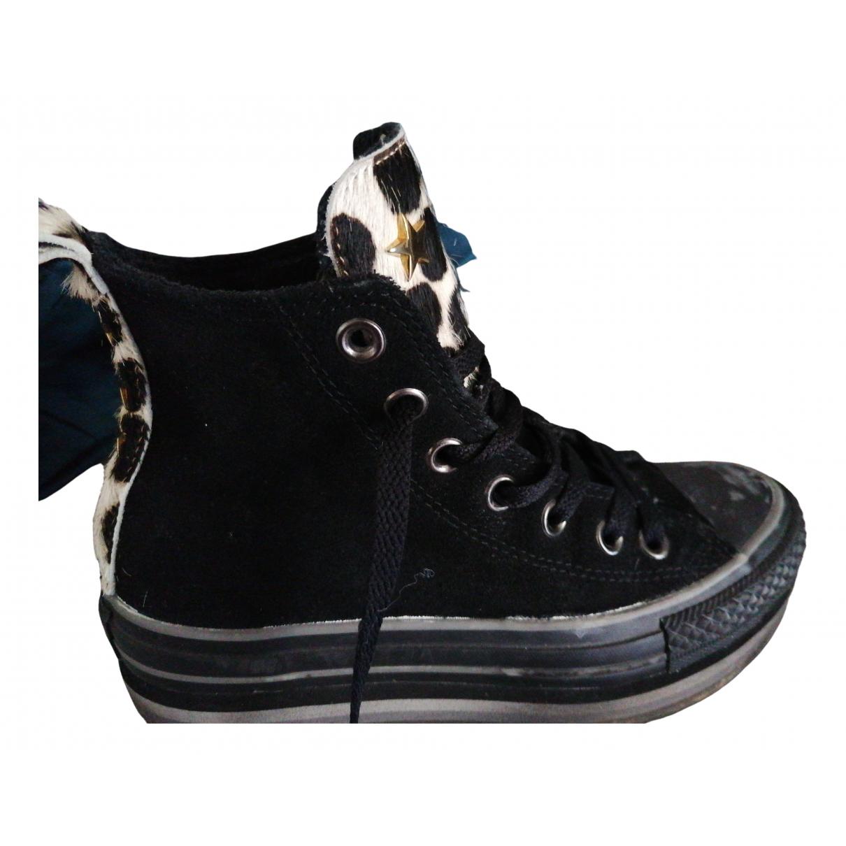 Converse \N Sneakers in  Schwarz Kalbsleder in Pony-Optik