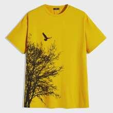 Maenner T-Shirt mit Baum und Vogel Muster