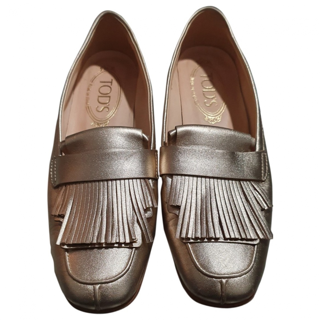 Tod's Gommino Gold Leather Flats for Women 35 EU