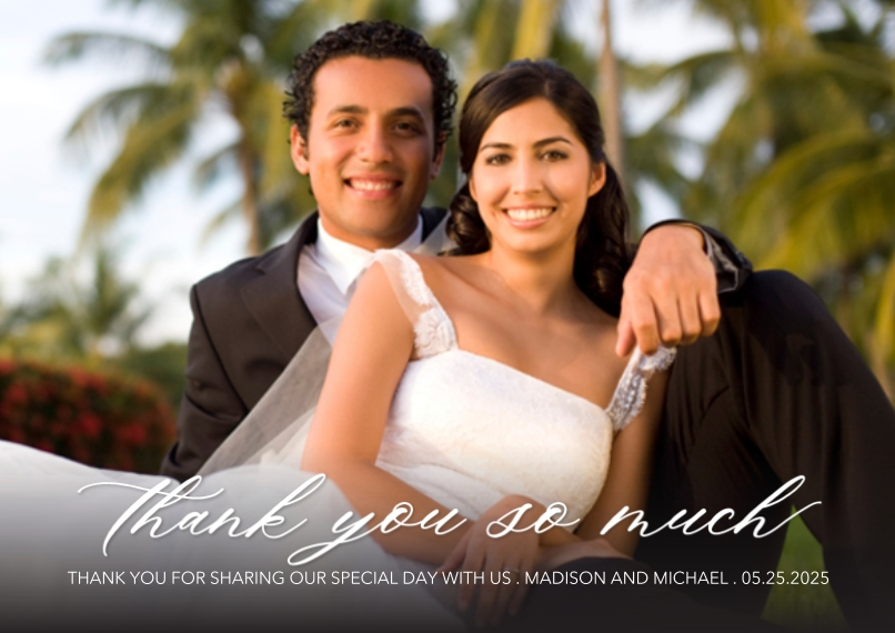 Wedding Thank You 5x7 Cards, Standard Cardstock 85lb, Card & Stationery -Thank You Elegant Delight by Tumbalina