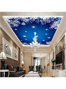 3D Blue Star Sky Pattern PVC Waterproof Sturdy Eco-friendly Self-Adhesive Ceiling Murals