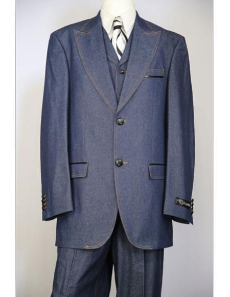 Mens navy blue brass & faux leather accents denim 3pc zoot suit
