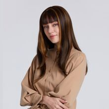 1pc Highlight Long Wig With Bangs