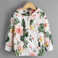 Jacke mit tropischem Muster und Kapuze