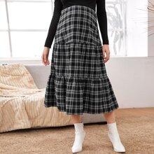 Maternity Tartan Flounce Skirt