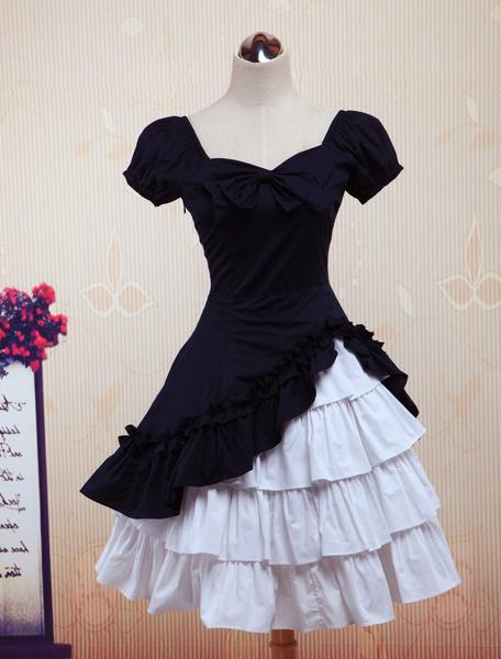 Milanoo Wine White Lolita OP Dress Short Sleeves withe Ruffles