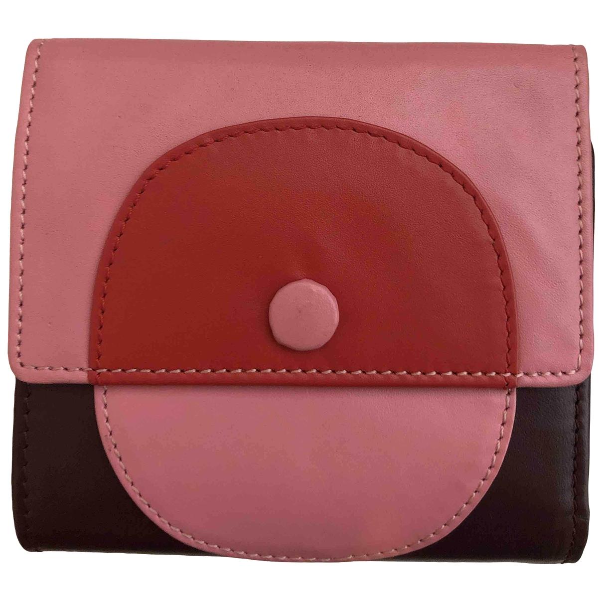 - Portefeuille   pour femme en cuir - rose