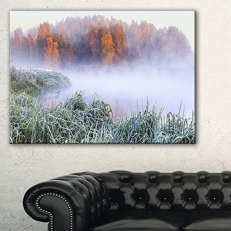 Designart Foggy Autumn Dawn Panorama Canvas Art, One Size , White