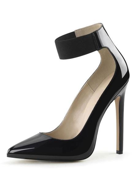 Milanoo Tacones altos Slip-On Punta puntiaguda Tacon de aguja Lentejuelas Sexy Vintage Zapatos negros