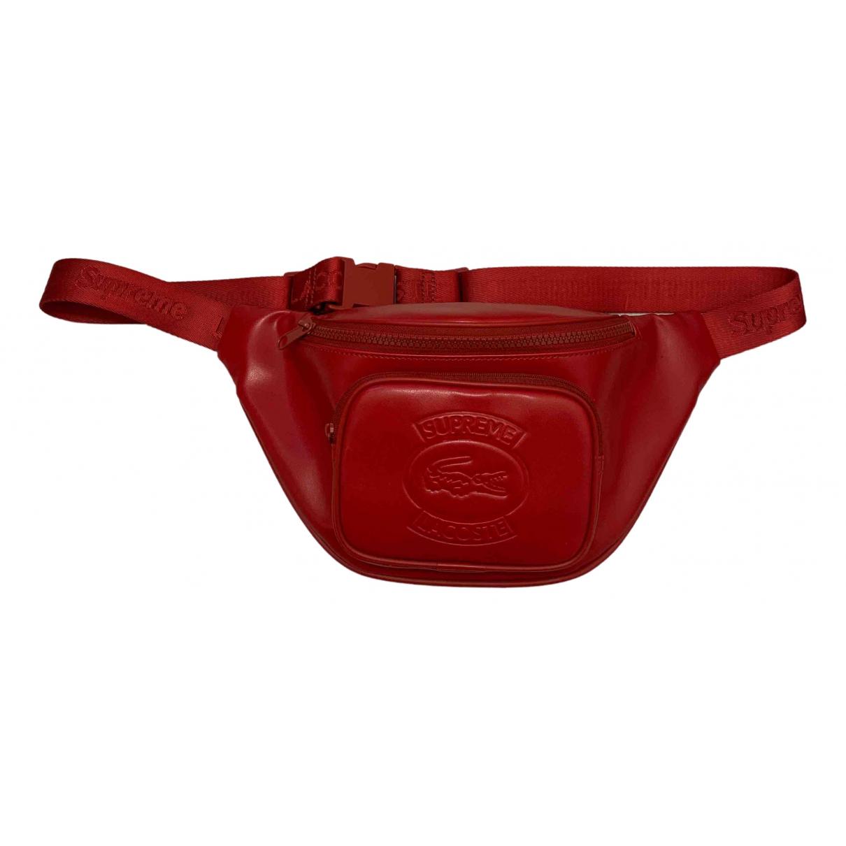 Lacoste X Supreme - Petite maroquinerie   pour homme en cuir - rouge
