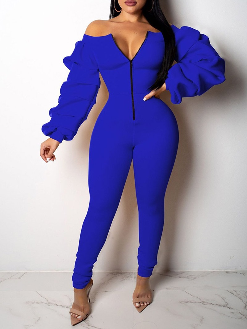 Ericdress Full Length Fashion Zipper Slim Mid Waist Jumpsuit