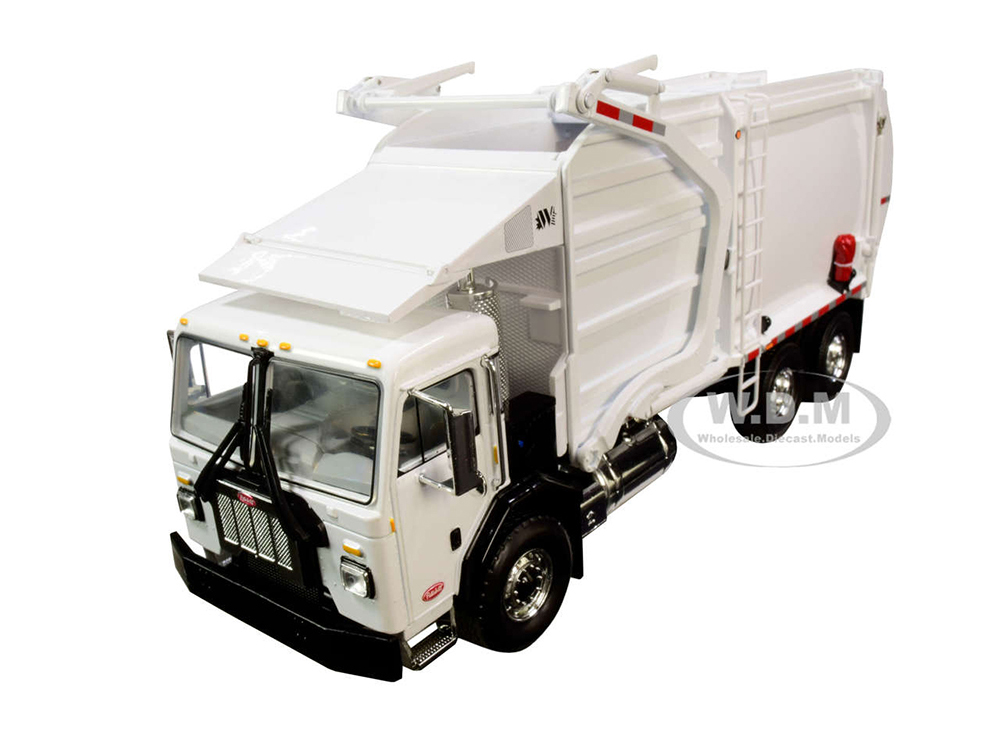 Peterbilt 520 Garbage Truck with Wittke Front End Load Refuse and Trash Bin White 1/34 Diecast Model by First Gear