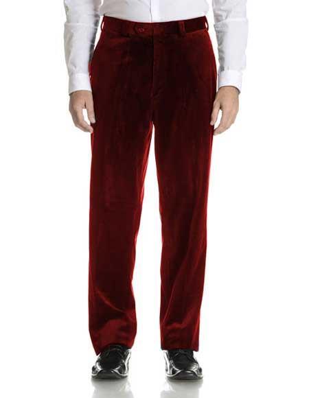 Men's Velvet Flat Front Burgundy Modern Fit Pant