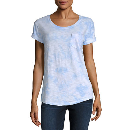 a.n.a-Womens Round Neck Short Sleeve T-Shirt, Petite Large , Multiple Colors
