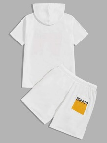 Men Letter Graphic Hooded Top & Contrast Striped Side Sweat Shorts Set