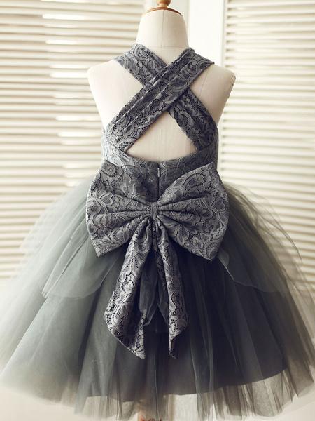 Milanoo Flower Girl Dresses Designed Neckline Sleeveless Bows Kids Party Dresses