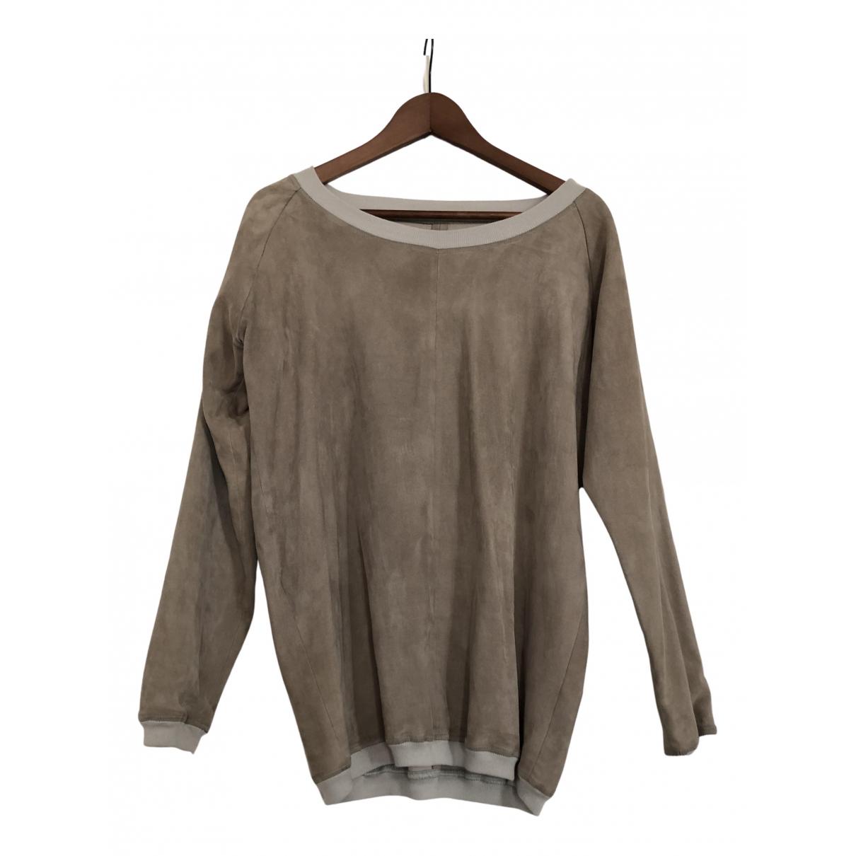 Stouls - Pull   pour femme en cuir - beige