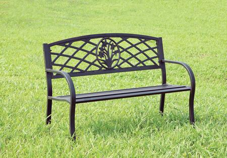 Minot CM-OB1809 Patio Steel Bench with Slated Seat  Steel  Black Finish in