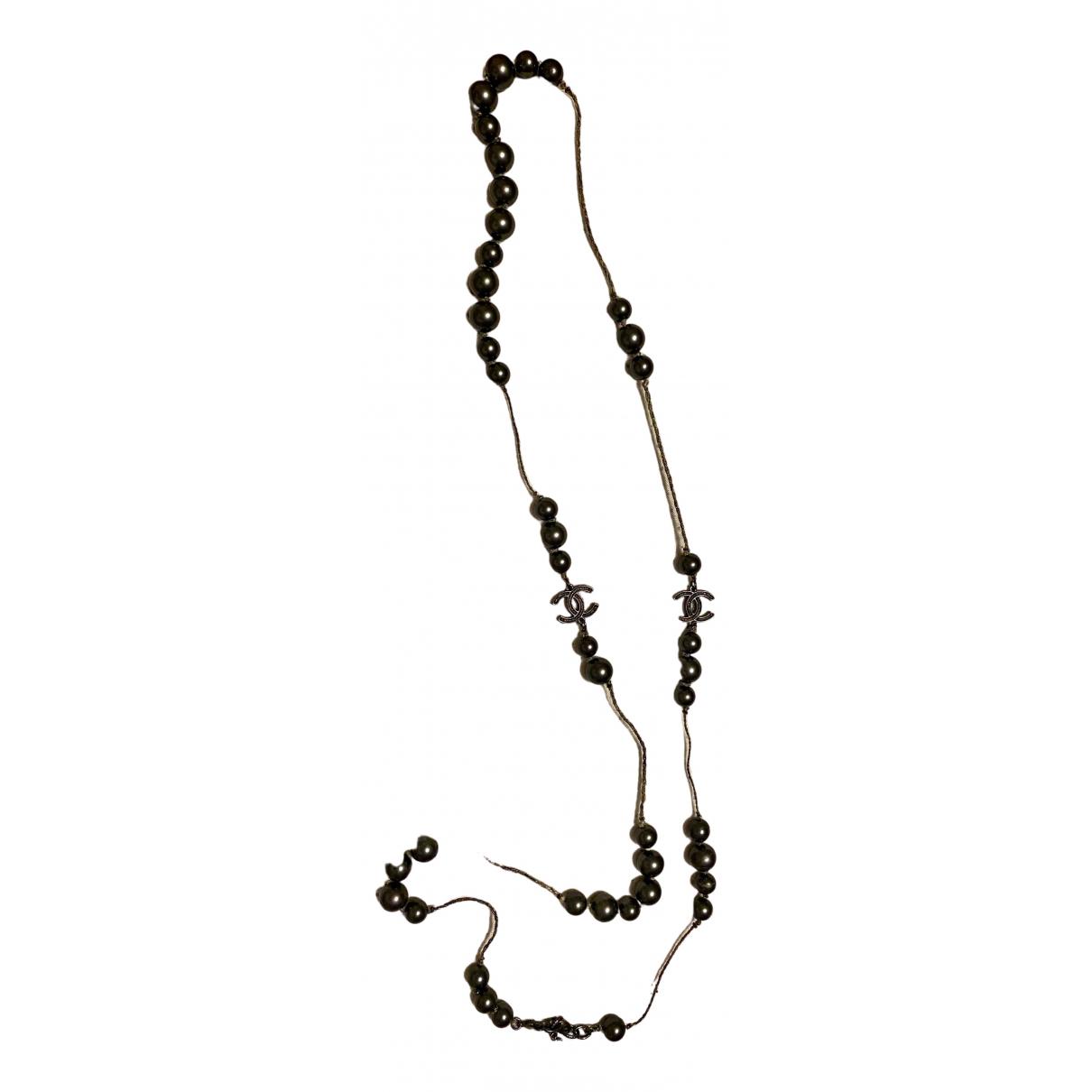 Chanel CC Halskette in  Grau Perlen