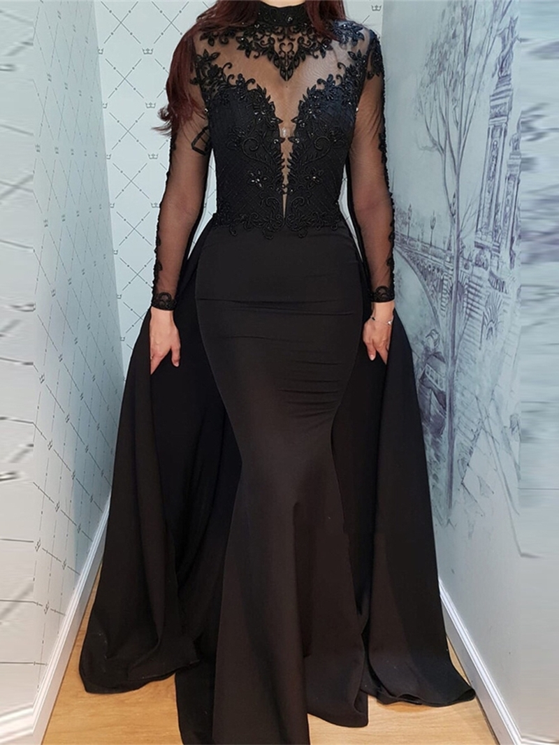 Ericdress Mermaid Long Sleeves Lace Black Evening Dress