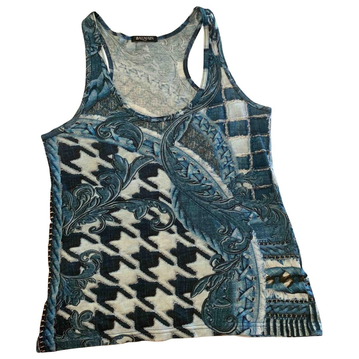 Balmain - Top   pour femme en coton - bleu