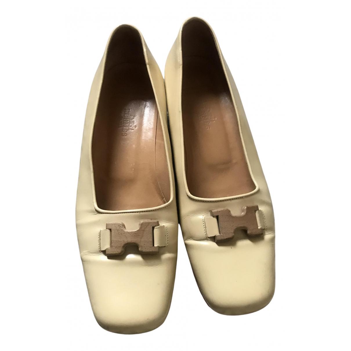 Hermes - Ballerines   pour femme en cuir - beige