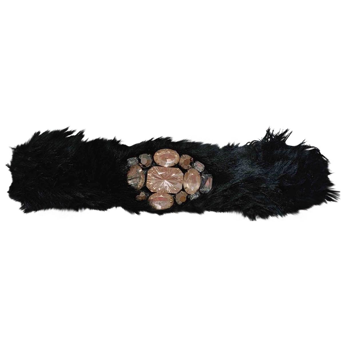 - Bracelet   pour femme en fourrure synthetique - noir