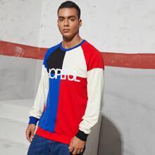 Pullover mit Buchstaben Stickereien und Farbblock