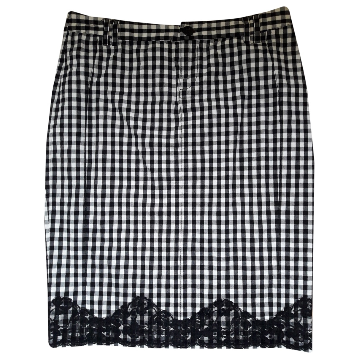 Mango \N Black Cotton - elasthane skirt for Women 38 FR