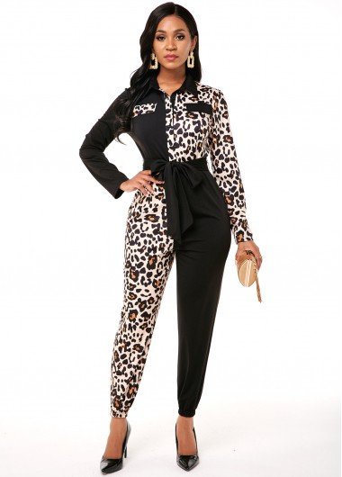 Long Sleeve Leopard Contrast Turndown Collar Jumpsuit - S