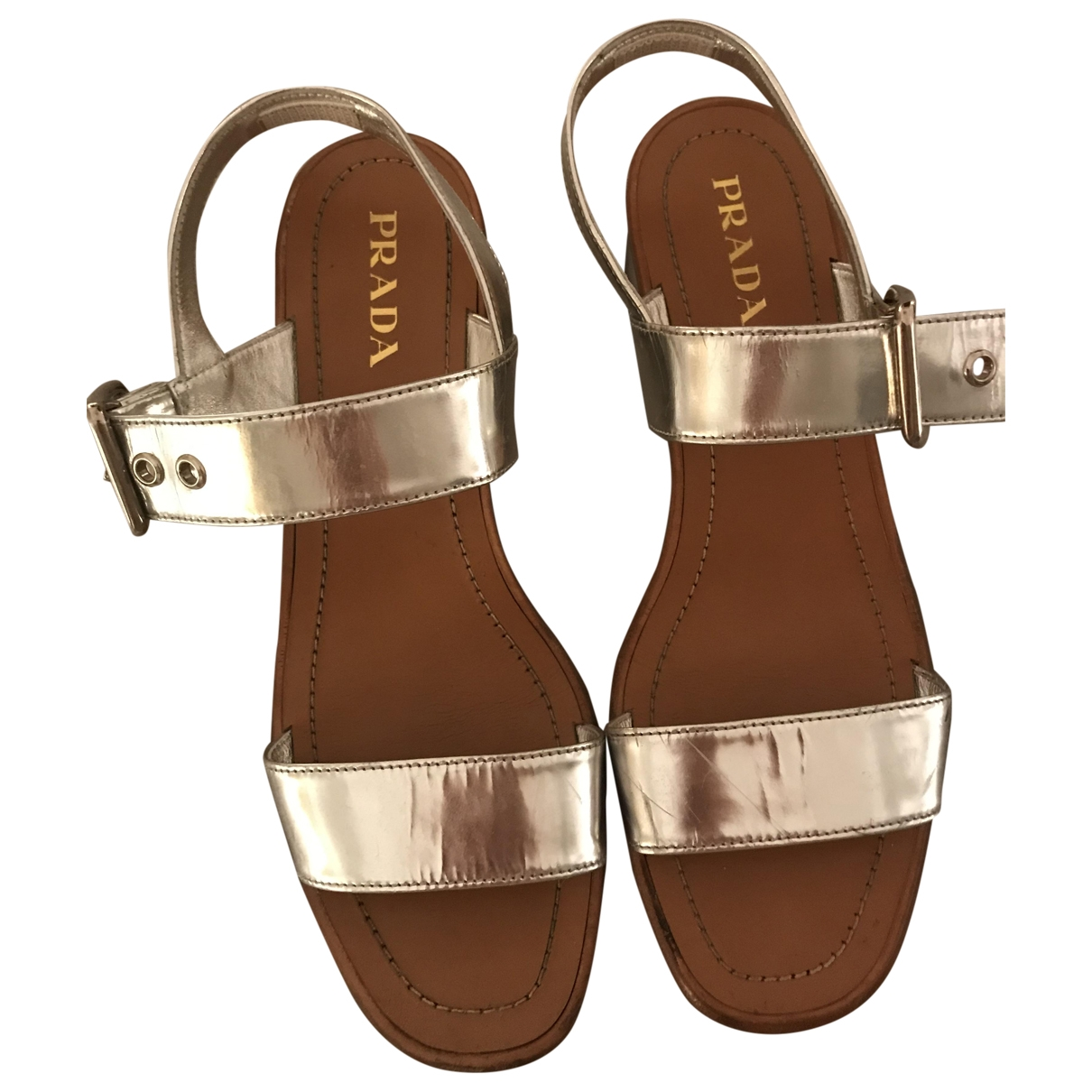 Prada \N Silver Leather Sandals for Women 41 EU